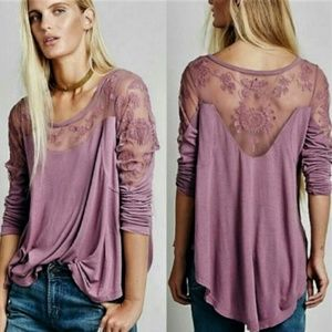 Free People New Romantics Jilly Lace Tee